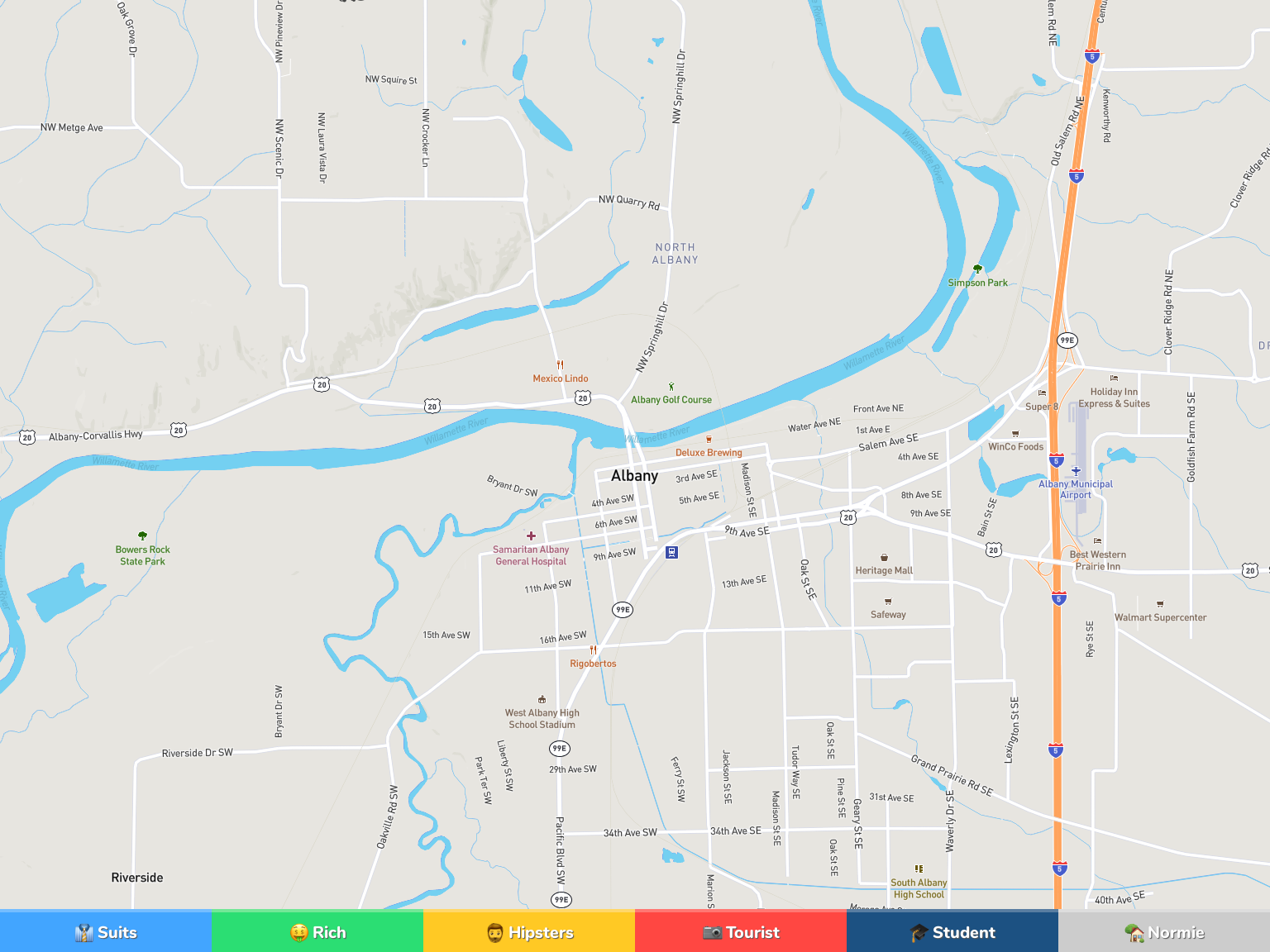 Albany Neighborhood Map