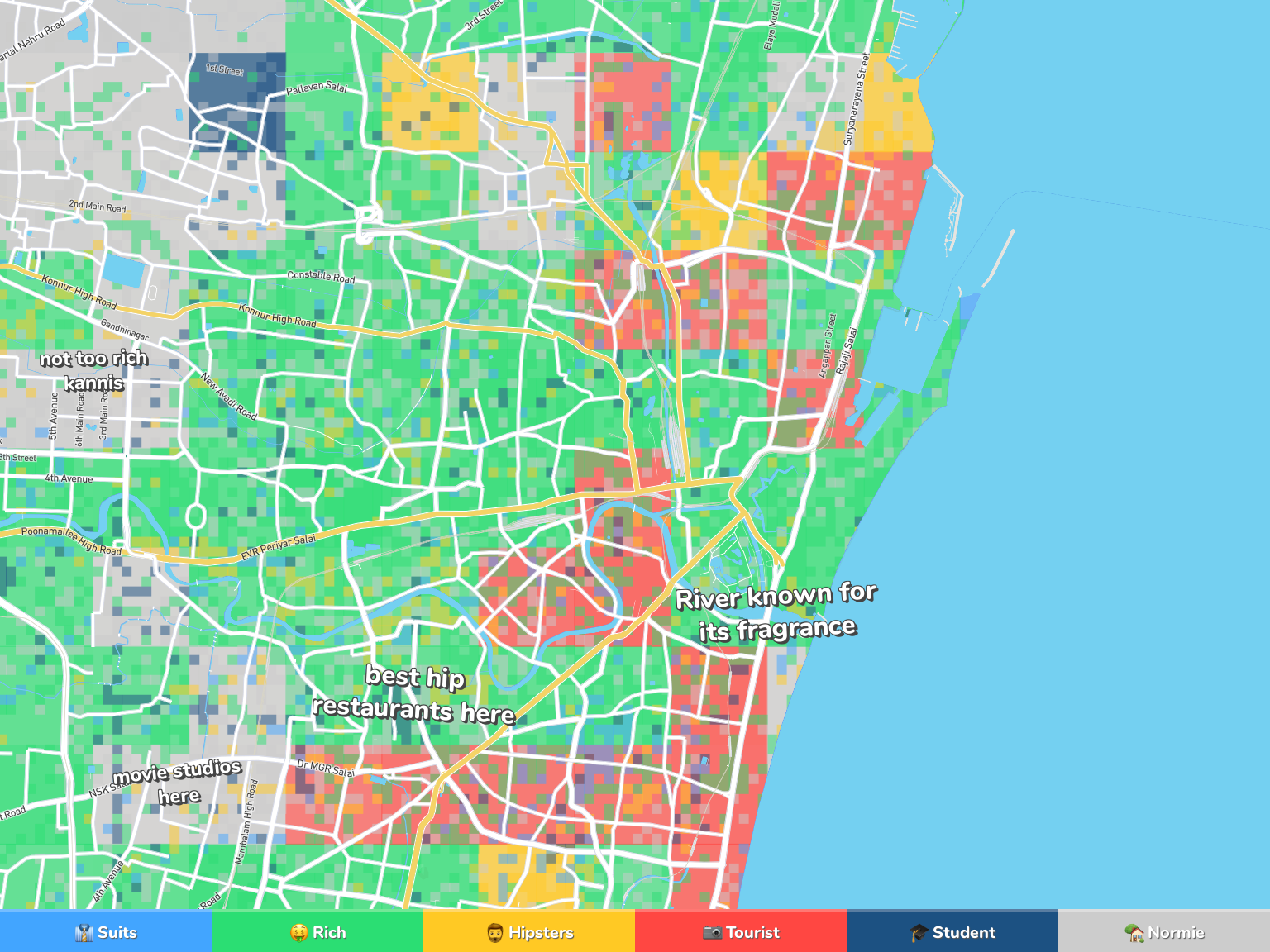 Chennai Neighborhood Map