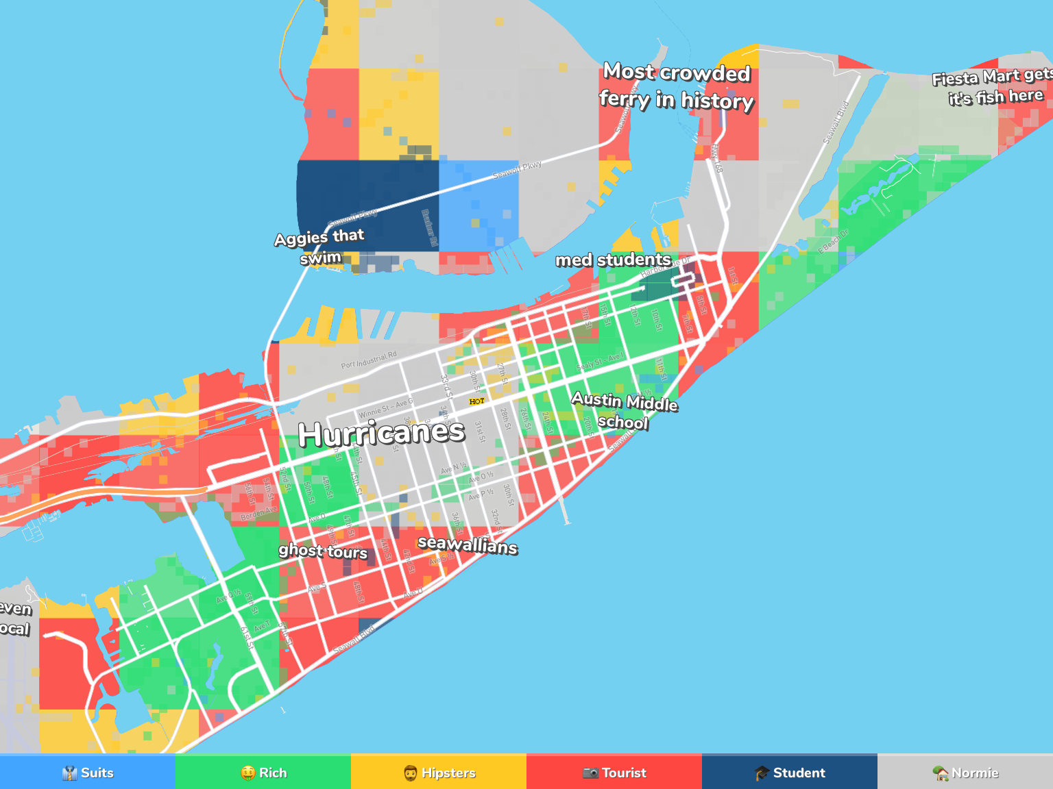 Galveston Neighborhood Map