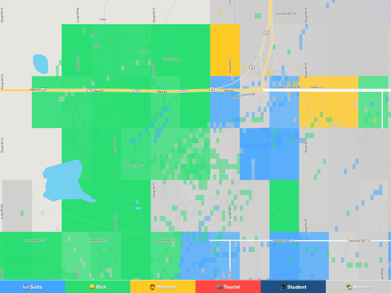 Grande Prairie Neighborhood Map
