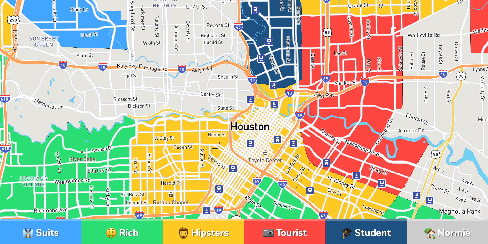 Where to Stay in Houston: Neighborhood Map by 957 Locals