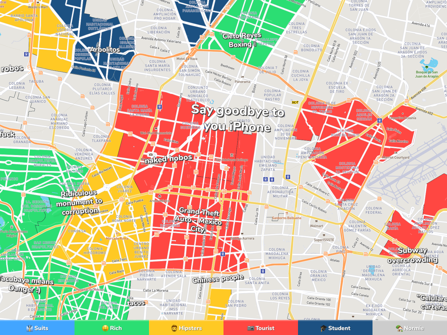 Mexico City Neighborhood Map