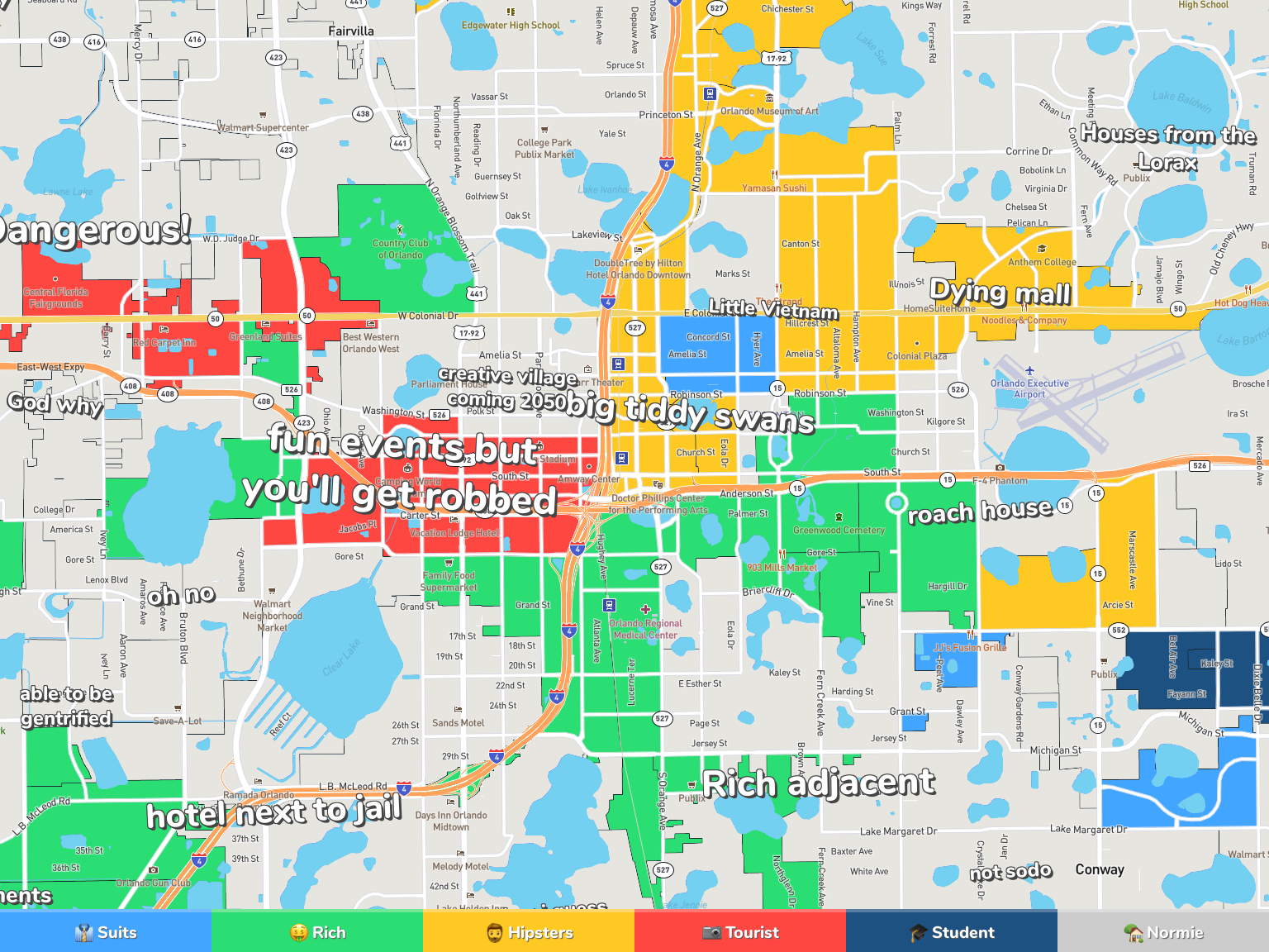 suburbs of orlando map Orlando Neighborhood Map suburbs of orlando map