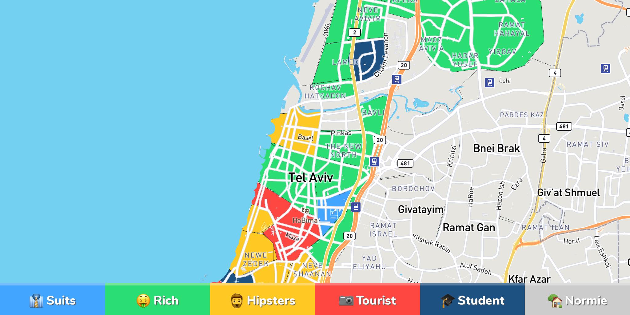 Tel Aviv Neighborhood Map - Ramat gan map