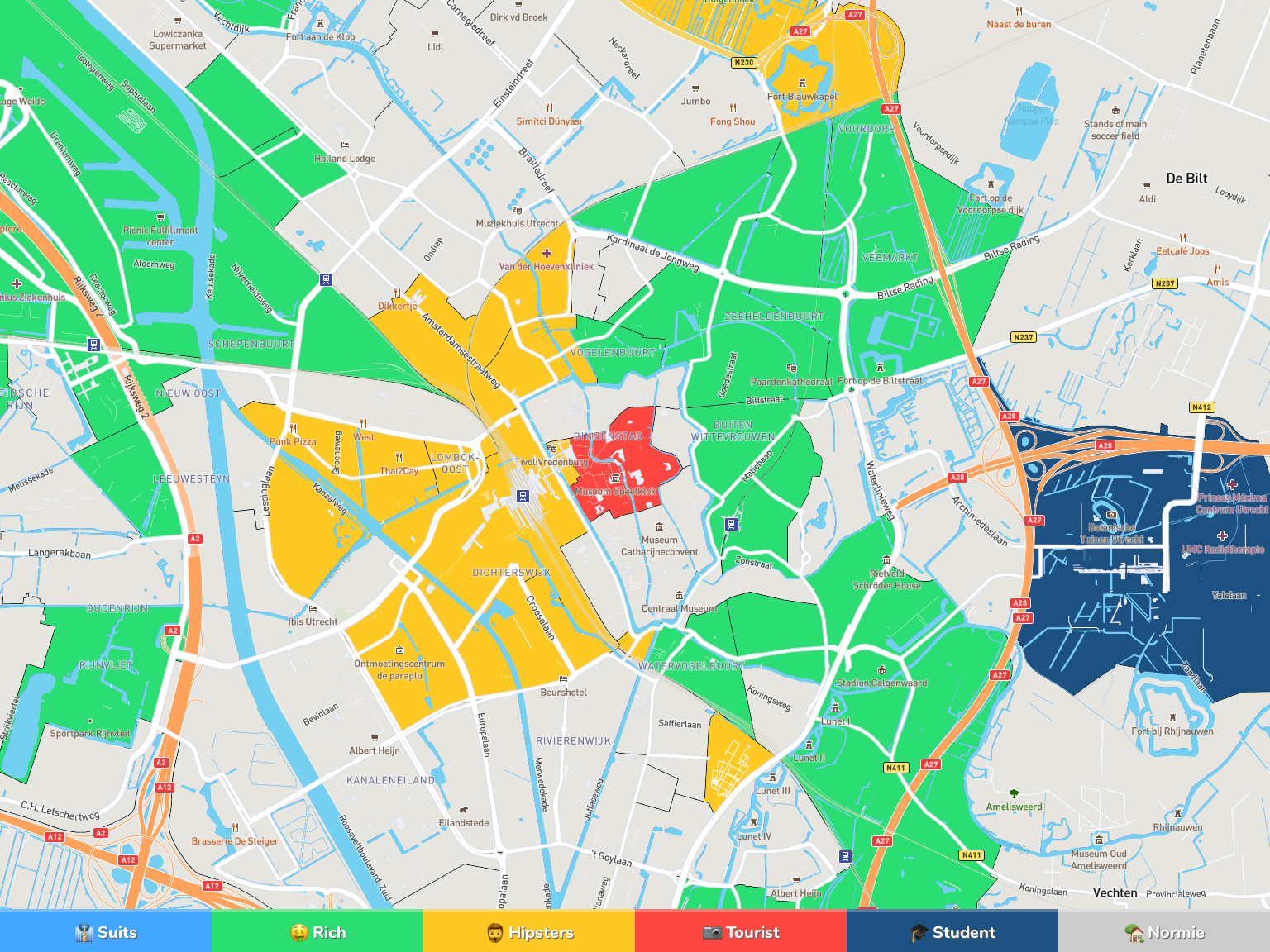 Utrecht Neighborhood Map