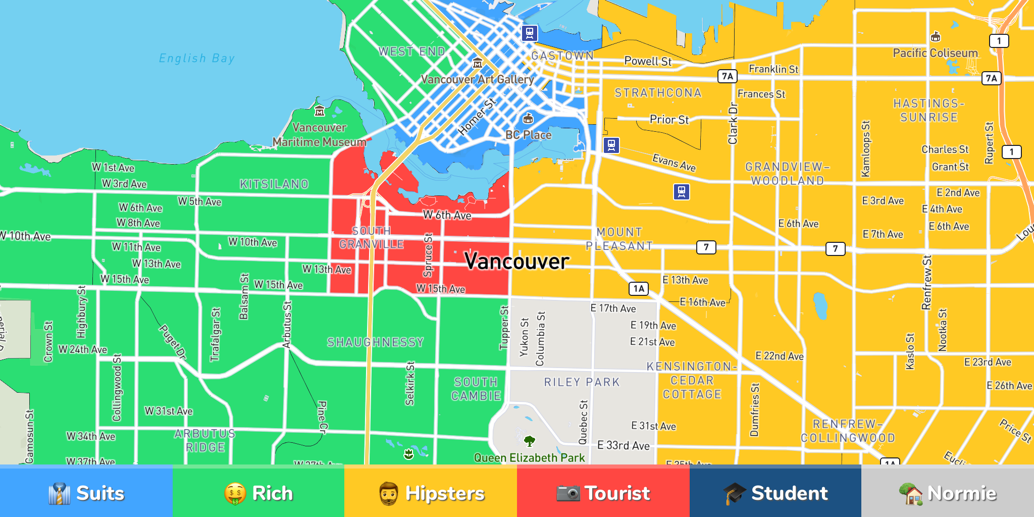 Judgemental map of vancouver