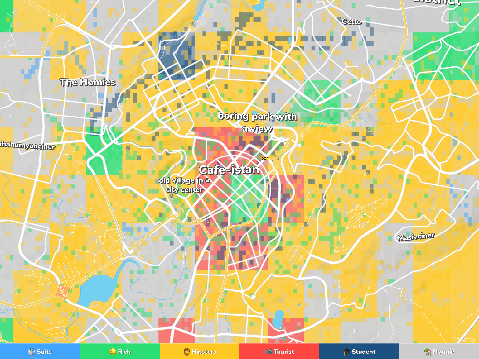Yerevan Neighborhood Map